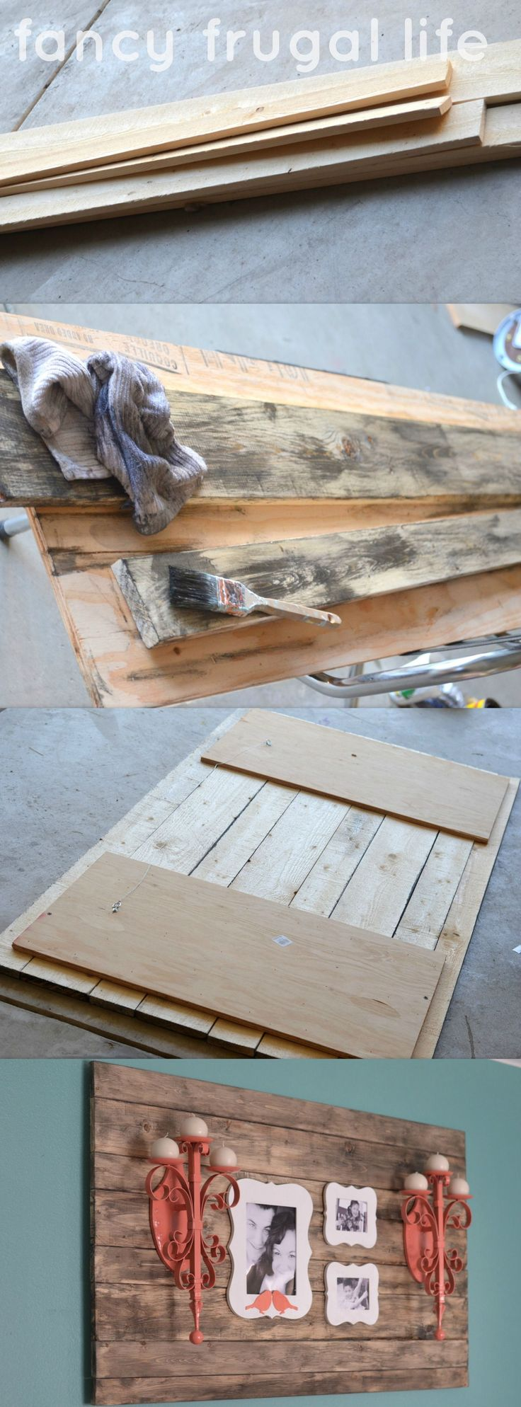 "DIY Faux ""Barn Wood"" Wall Art. Works as a great back drop for smaller items."
