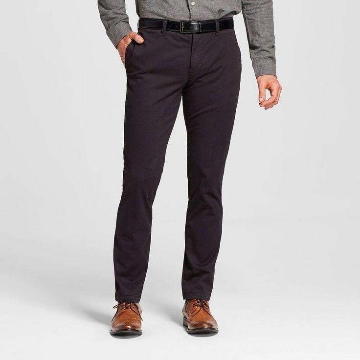Men's Slim Stretch Chino Pants Deep Charcoal 32x32 - Merona