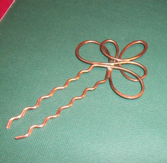 Hadmade Copper Hair Pin Swirls by WickedlyWired on Etsy