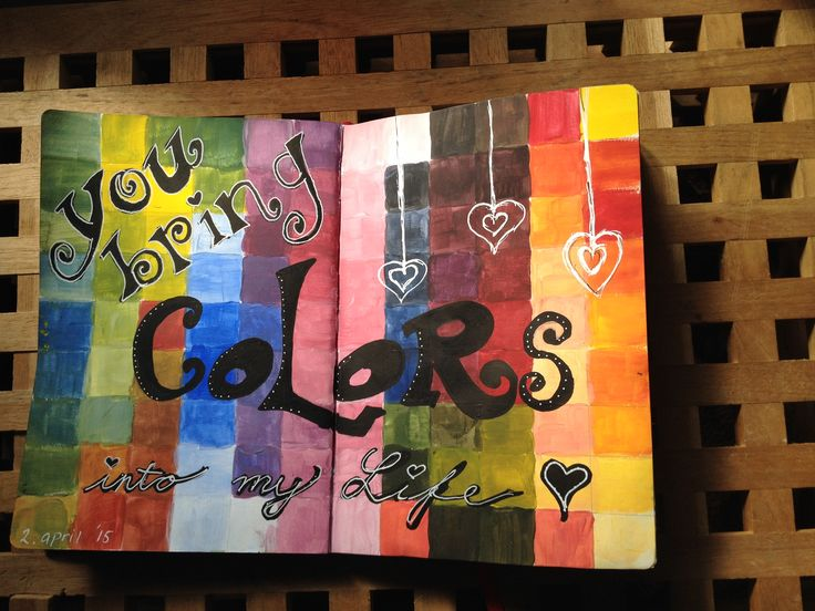 Art Journal #5 You bring colors into my life <3 All colors mixed from primary colores + black / white. Acrylics.