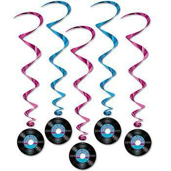 Rock and Roll Record Whirls feature three cerise and two blue whirls with record cutouts. Each rock and roll record dangler measures 40 inches long and are printed on both sides.