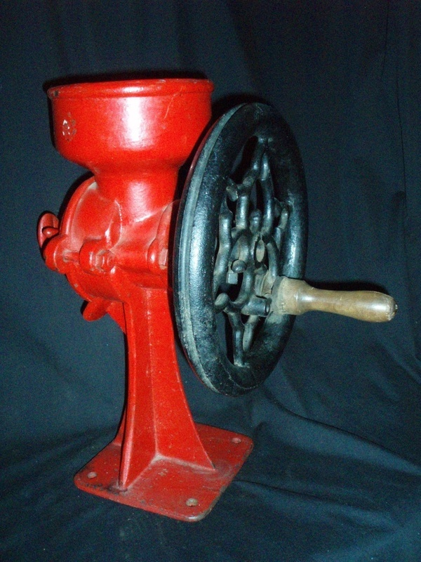 coffee bean grinder mill antique red black cast iron, $230