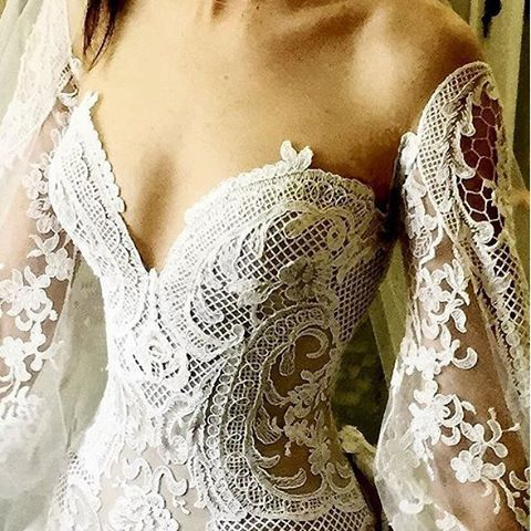 Mooning over this close up of #jatoncouture's lace corseted sheer Baroque gown.