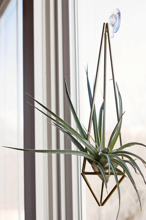 Brass Himmeli Prism no. 1  / Hanging Modern Mobile / Geometric Ornament / Air Plant Hanging Planter / Minimalist Home Decor