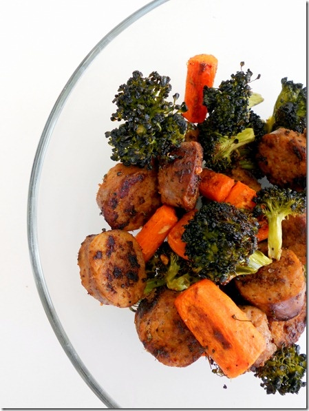 Hot Italian Sausage with Roasted Broccoli and Carrots | The Wheatless Kitchen
