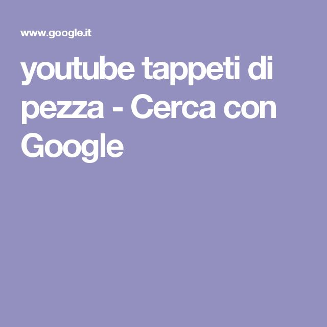 youtube tappeti di pezza - Cerca con Google