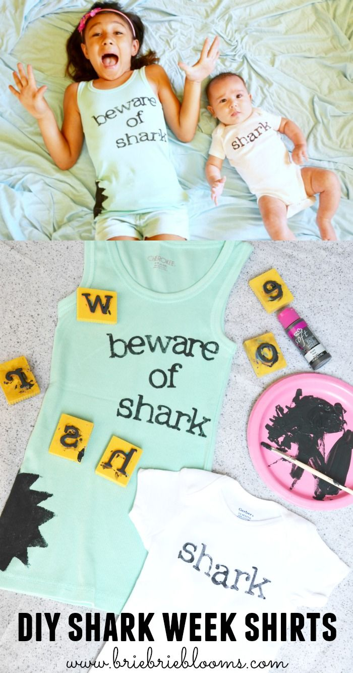 Whether it's a Jaws movie night or a Discovery Channel episode marathon, DIY shark week shirts are perfect for the occasion. #SharkWeek