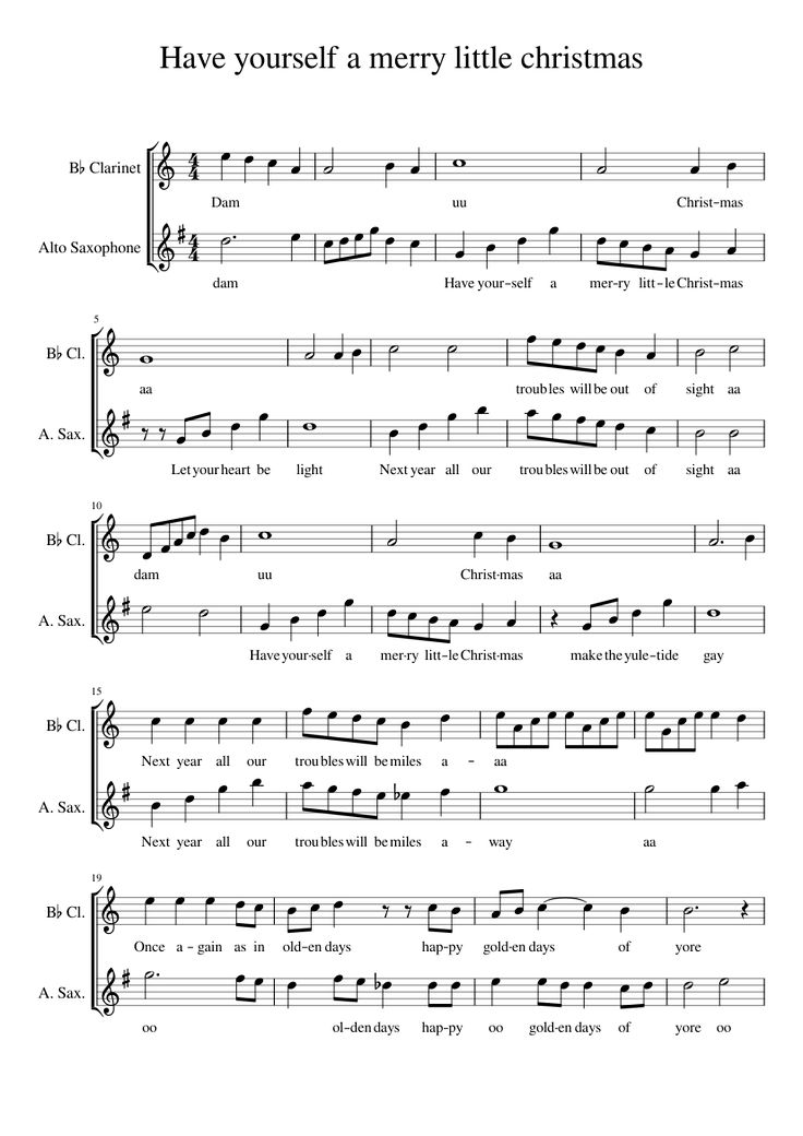 Sheet music made by Hollywiday for 2 parts: B♭ Clarinet, Alto Saxophone