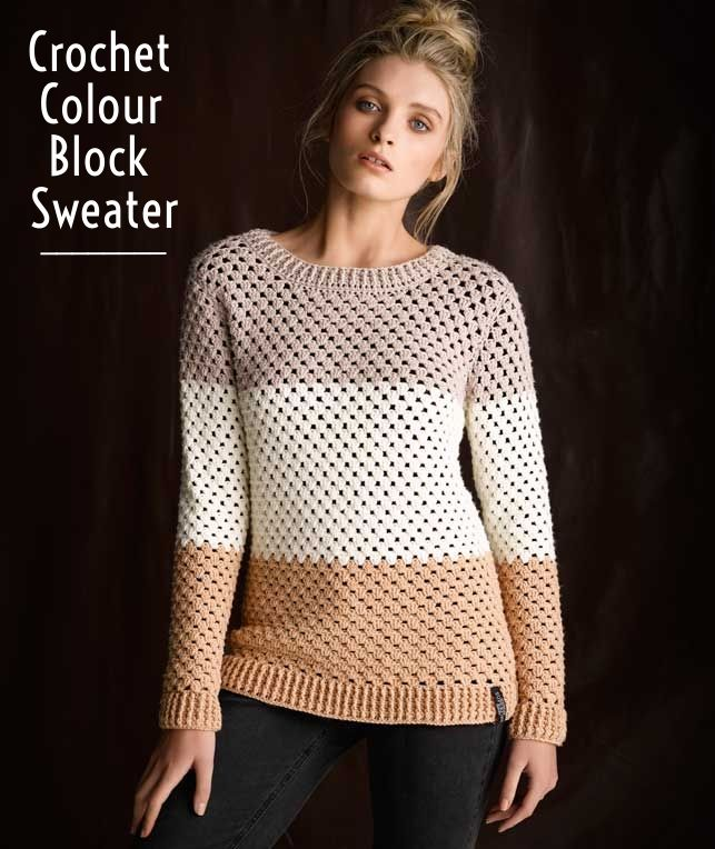 Create a Crochet Colour Block Sweater with this how-to!   Crochet Pattern…