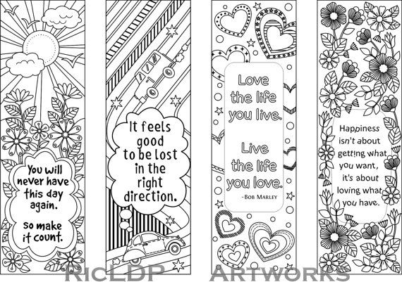 Printable Colouring Bookmarks with Quotes by RicLDPArtworks