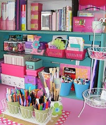 Hmm...thinking of doing the craft room really bright.  I like this color combo but I'm not sure I can let myself do the pink. Maybe purple.