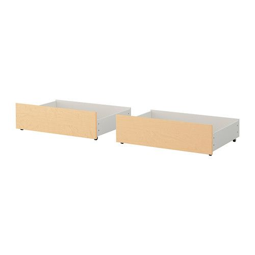 IKEA - MALM, Underbed storage box for high bed, birch veneer, Full/Double, , You get a lot of extra storage under the high MALM bed frame if you complement with 2 or 4 underbed storage boxes.Real wood veneer will make this bed box age gracefully.Smooth running casters make content easily accessible.