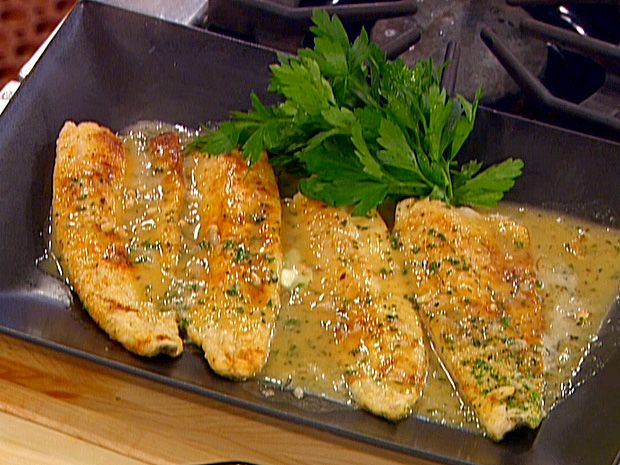 Trout a la Meuniere Recipe : Emeril Lagasse. Traded fresh homegrown tomatoes for fresh speckled trout. Yum. Can also add finely chopped pecans (in food processor) to flour or sliced almonds to the sauce.