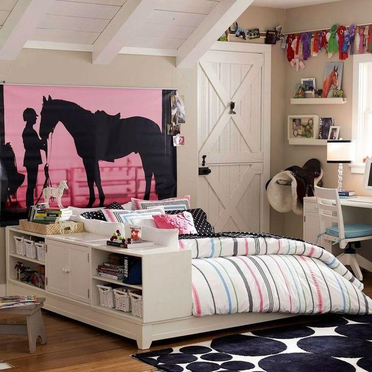 chambre d'ado fille en rose et blanc