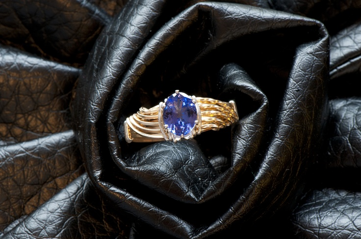 Tanzanite two-toned gold wire wrapped ring designed by Jennifer at Biebert Studios
