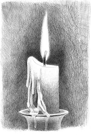How to draw a burning candle