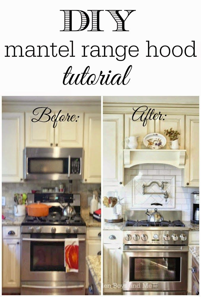 DIY mantel range hood turtorial.  Remove your over- the-range microwave and replace it with a mantel shelf.