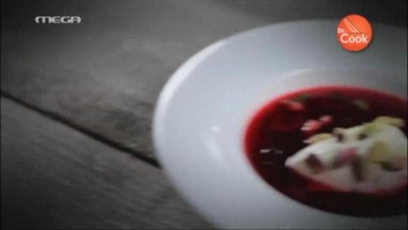 Επ.12 - Σούπα κεράσι με φιστίκι Αιγίνης και κρέμα λευκής σοκολάτας