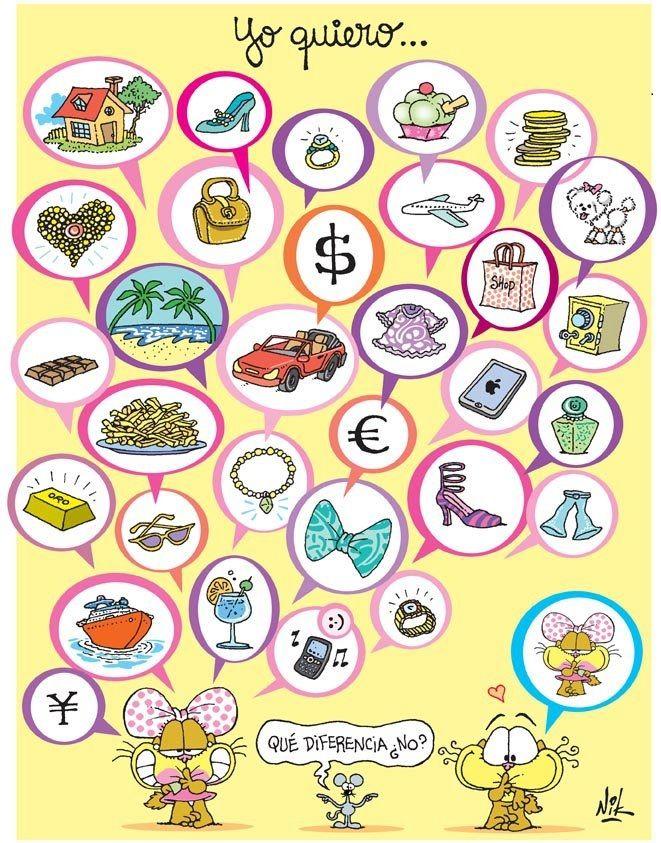 Use this picture to have them create sentences with quiero, necesito , tengo, puedo comprar..etc
