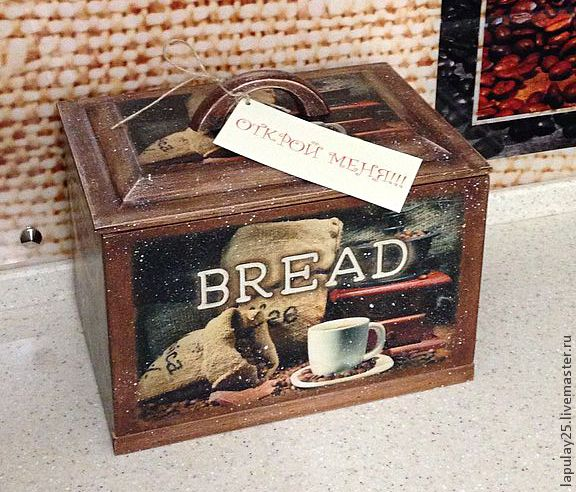 """Купить """"Кофемания"""" Хлебница - хлебница, хлебница из дерева, хлеб, кухонный интерьер, для дома и интерьера"""