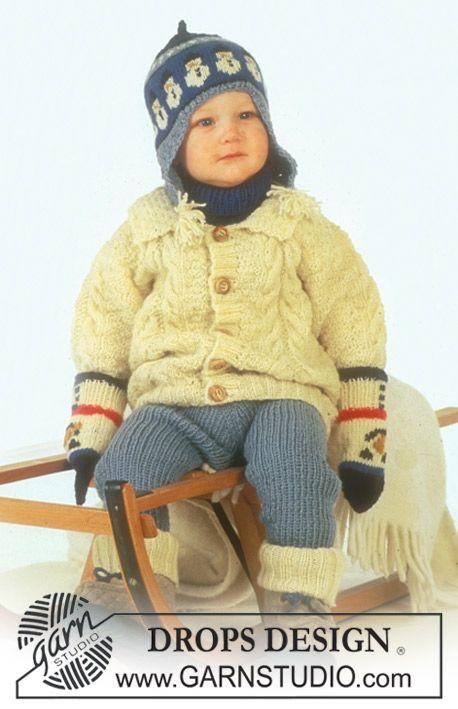 DROPS vest met kabelpatroon, broek, muts, wanten, sokken en halswarmer van Karisma   Gratis patronen van DROPS Design.