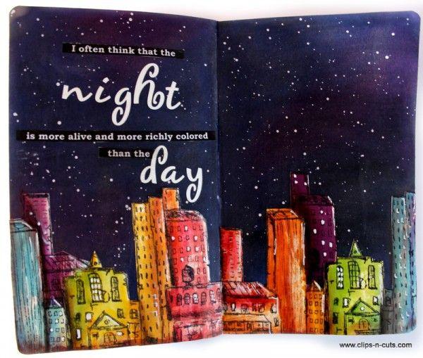 Starry Night Cityscape Art Journal Layout!