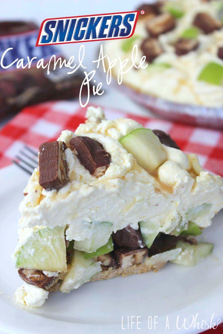 Snickers Caramel Apple Pie (No Bake)