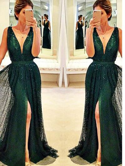 New Prom dresses, Long custom prom dresses, Dark-Green prom dress, Front-Split prom dress, Sexy prom dress. PD21220