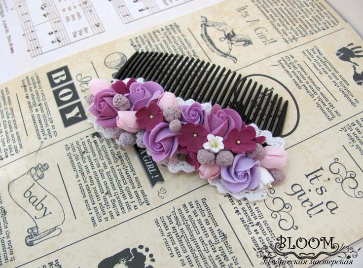 Flower Hair Comb, Comb, hair comb, hair accessories, flovers, accessories, claycraft by deco, clay, polymer clay, violet, roses by MarinaShestorkina on Etsy