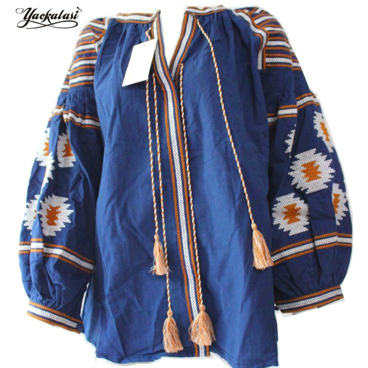 Navy Blue Bohemian Blouses Women Autumn Tops Elegant Boho Embroidered Lantern Sleeve Tassels Loose shirt One Size