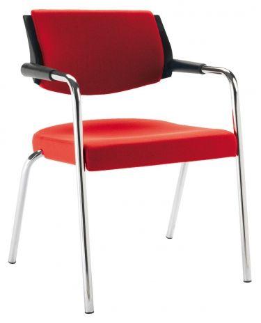€ 144,00 OMEGA4 #sedie da attesa con struttura in metallo cromato e sedile e schienale imbottiti e rivestiti in tessuto di colore #rosso in #offerta #prezzo #sconto 50% su www.chairsoutlet.com