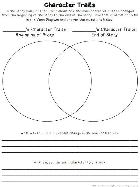 Free Character Traits Graphic Organizer - Have students compare the character traits of a character at the beginning of the story to the character traits at the end of a story.