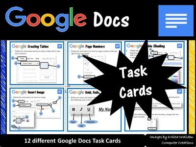 Google Drive Docs Task Cards from Computer & ICT Lesson Plans on TeachersNotebook.com (12 pages)