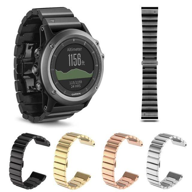 Новые люди черный Золото Серебро Металл Смотреть ремешок из нержавеющей стали Браслеты для Спортивные часы Smart Watch для Garmin Fenix 3/HR