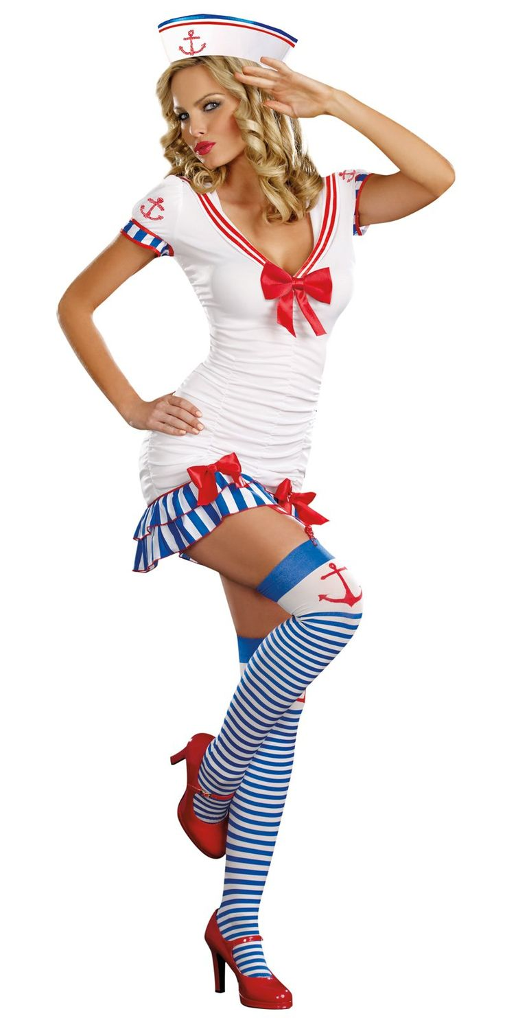 This costume includes dress, sailor hat, striped thigh high stockings, removable/adjustable garters. Does not include shoes.