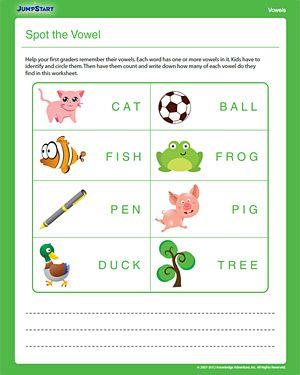 Spot the Vowel - Free Printable 1st Grade English Worksheet1St Grade