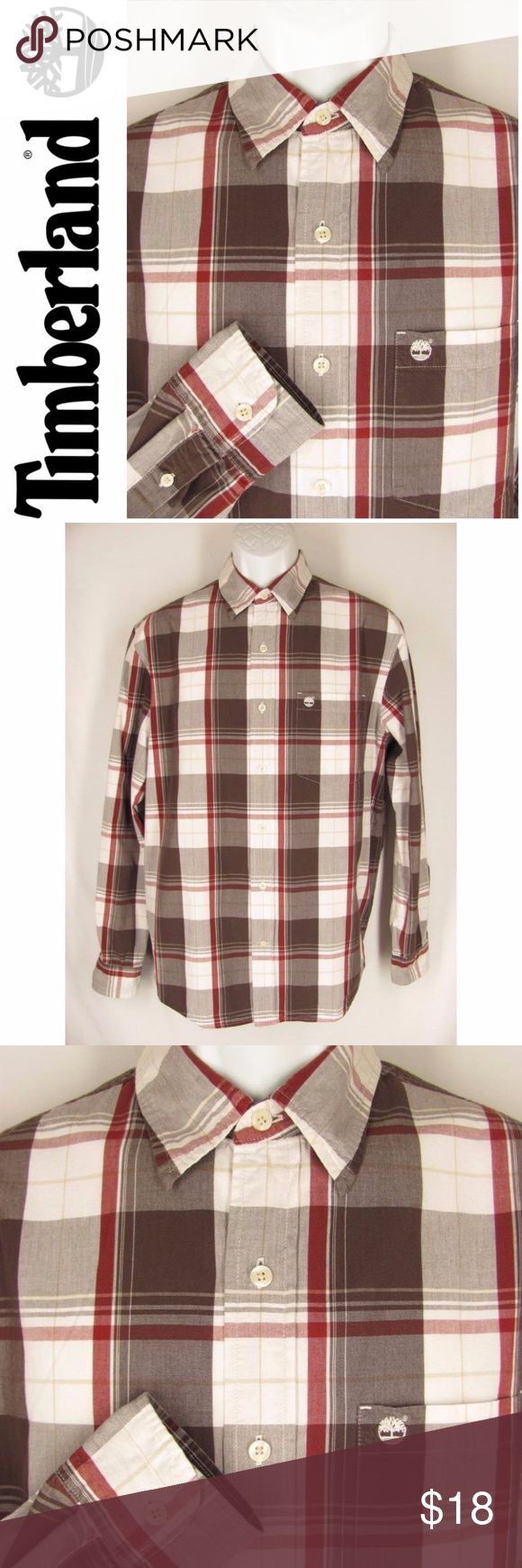 "Timberland Shirt Mens M Plaid Cotton Long Sleeves Timberland mens casual shirt, size Medium. This handsome shirt is 100% cotton in a rugged white, brown and rust colored plaid. It's got a pointed collar, button down front, long sleeves, a chest pocket with the Timberland logo and a back pleat. Very Good Gently Pre-Loved condition!  22 1/2"" across chest 22 1/2"" across at the hem 24 1/2"" from shoulder seam to bottom of sleeve 33 1/4"" length  10x14 170703-214-9 Timberland Shirts Casual Button…"