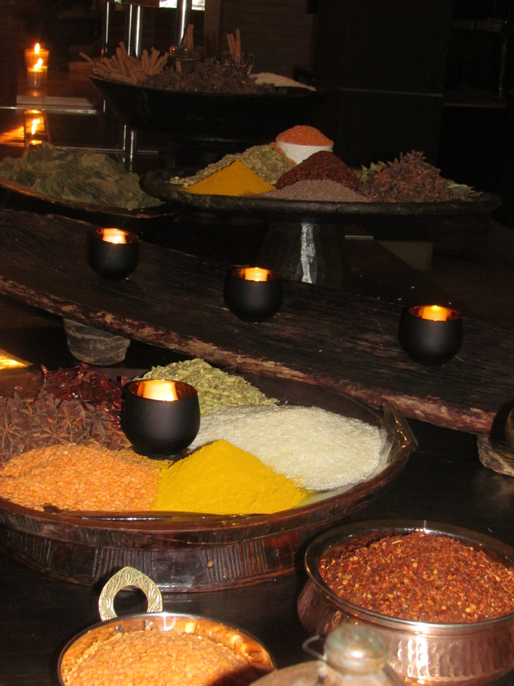 A variety of Indian spices as part of the decor for 'Tast of India'