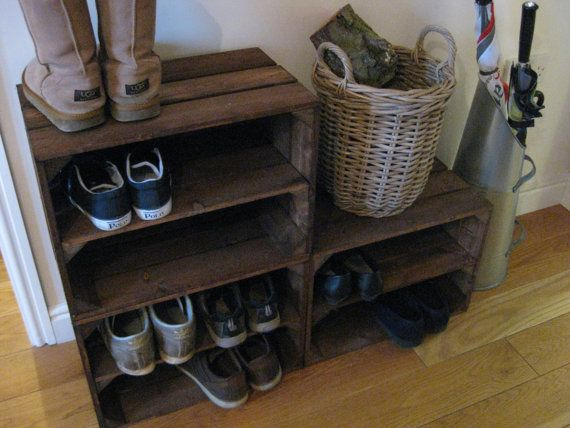 These are our sturdy handmade wooden crates fitted with one internal shelf. Excellent for use as shoe racks, displays or just for storage. ~~ APPROXIMATE DIMENSIONS ~~ 495mm Wide, 355mm High, 285mm Deep (19.1/2 Wide, 14 High, 11.1/4 Deep) Shelf gaps approximately 155mm (6.1/10) ~~ FEATURES ~~ Crates can easily be fixed together (no drilling required) if building a storage unit or mix of crates. Please get in touch for details. Crates are treated with a wood preservative, which makes th...
