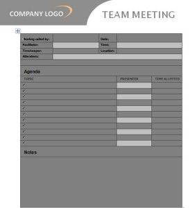 Keep your meetings running on time with this flexible team agenda template, which records the time allocated for everything of business and the entire meeting time.