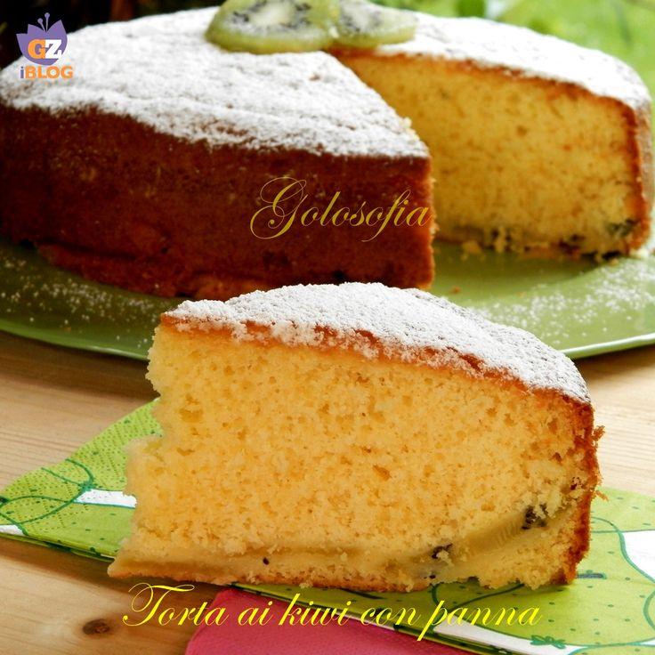 Torta ai kiwi con panna, un dolce buonissimo super soffice! ideale per una sana e golosa colazione..;)