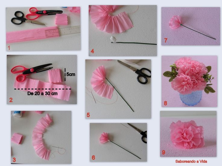 A montagem de fotos abaixo explica como fazer a flor, que é um cravo:          Duas faixas de trinta centímetros de papel crepom franzidas s...