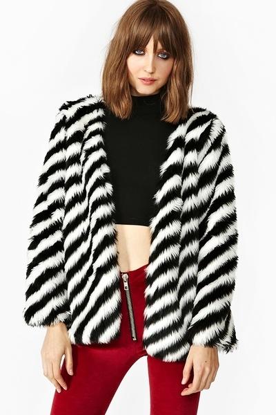Wild Stripe Faux Fur Coat - Lyst