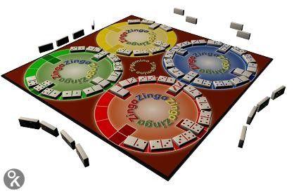 Zingamino - het doel is om vier cirkels van verschillende kleuren te vullen met je dominostenen. De eerste die er in slaagt al zijn stenen neer te leggen, wint de partij! Er zijn veel combinaties mogelijk, maar alleen met een goede strategie kun je het spel winnen. En pas op: wat je hebt neergelegd, kan zich ook tegen je keren... PL+55