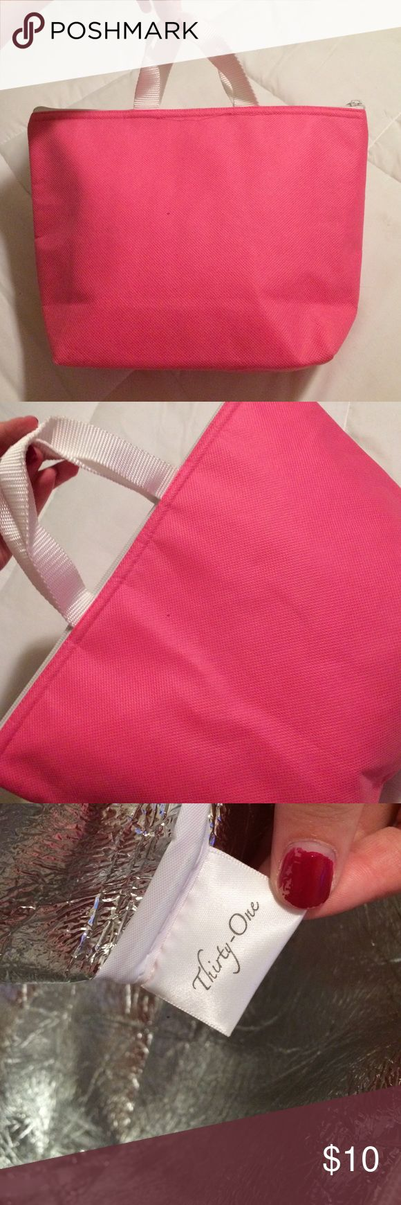 Thirty one lunch box Thirty one lunch bag. Pretty pink color. Insulated. Blank and would be perfect to add a monogram. Thirty-one Bags