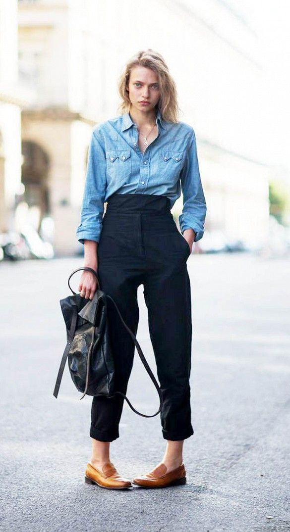 denim shirt, high-waisted pants & loafers #style #fashion #streetstyle