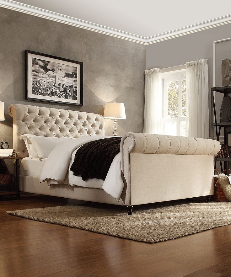 Homebelle queen allaire tufted linen sleigh bed master bedroom pinterest accent walls Headboard ideas for master bedroom
