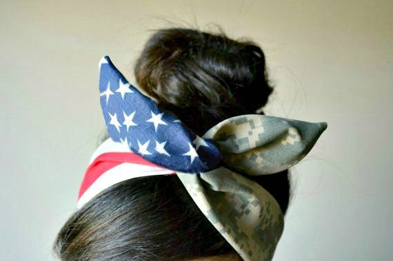 USMC Wife, US Army American flag Camouflage Dolly bow, American flag head band, hair accessory made with navy blue and white stars mixed Digital Camo.