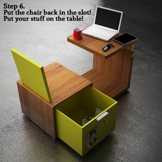 0,2 m3 - Mobile office for coworking. Chair contains drawer/safe to hold your stuff, and back folds down to fit under table. It can be stored on a shelf when not in use, since it only takes up 0.2 cubic meters (about 7 cubic feet).: