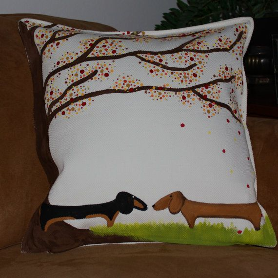 Hand Painted Dachshund Decorative Pillow Cover 20 x 20 FALLing in Love. $23.00, via Etsy.